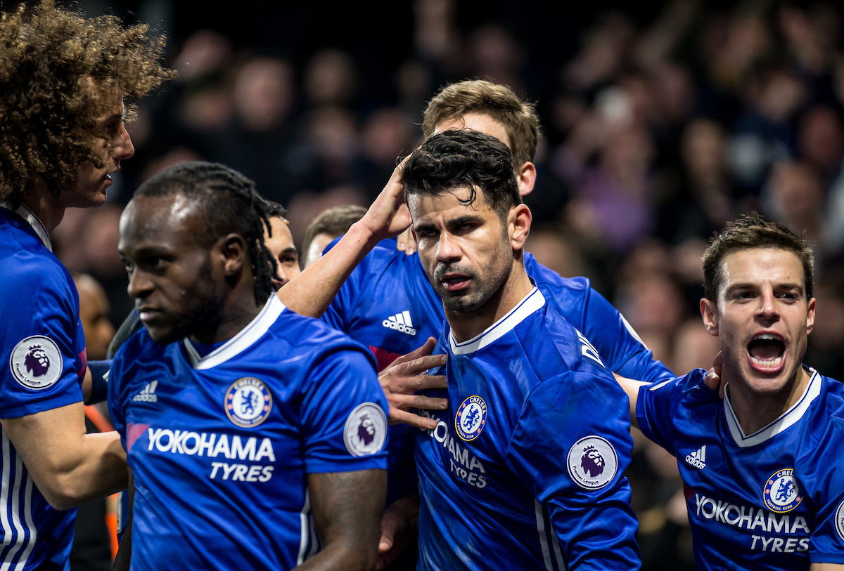 Diego Costa of Chelsea celebrates his goal during the Premier League match at Stamford Bridge, London Picture by Liam McAvoy/Focus Images Ltd 07413 543156 22/01/2017