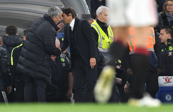 Manager of Chelsea Antonio Conte and Manager of Manchester United shake hands at the end of the Premier League match at Stamford Bridge, London Picture by Andrew Timms/Focus Images Ltd +44 7917 236526 23/10/2016