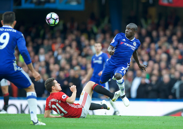 Ander Herrera of Manchester United goes in with a sliding tackle on Ngolo Kante of Chelsea during the Premier League match at Stamford Bridge, London Picture by Alan Stanford/Focus Images Ltd +44 7915 056117 23/10/2016