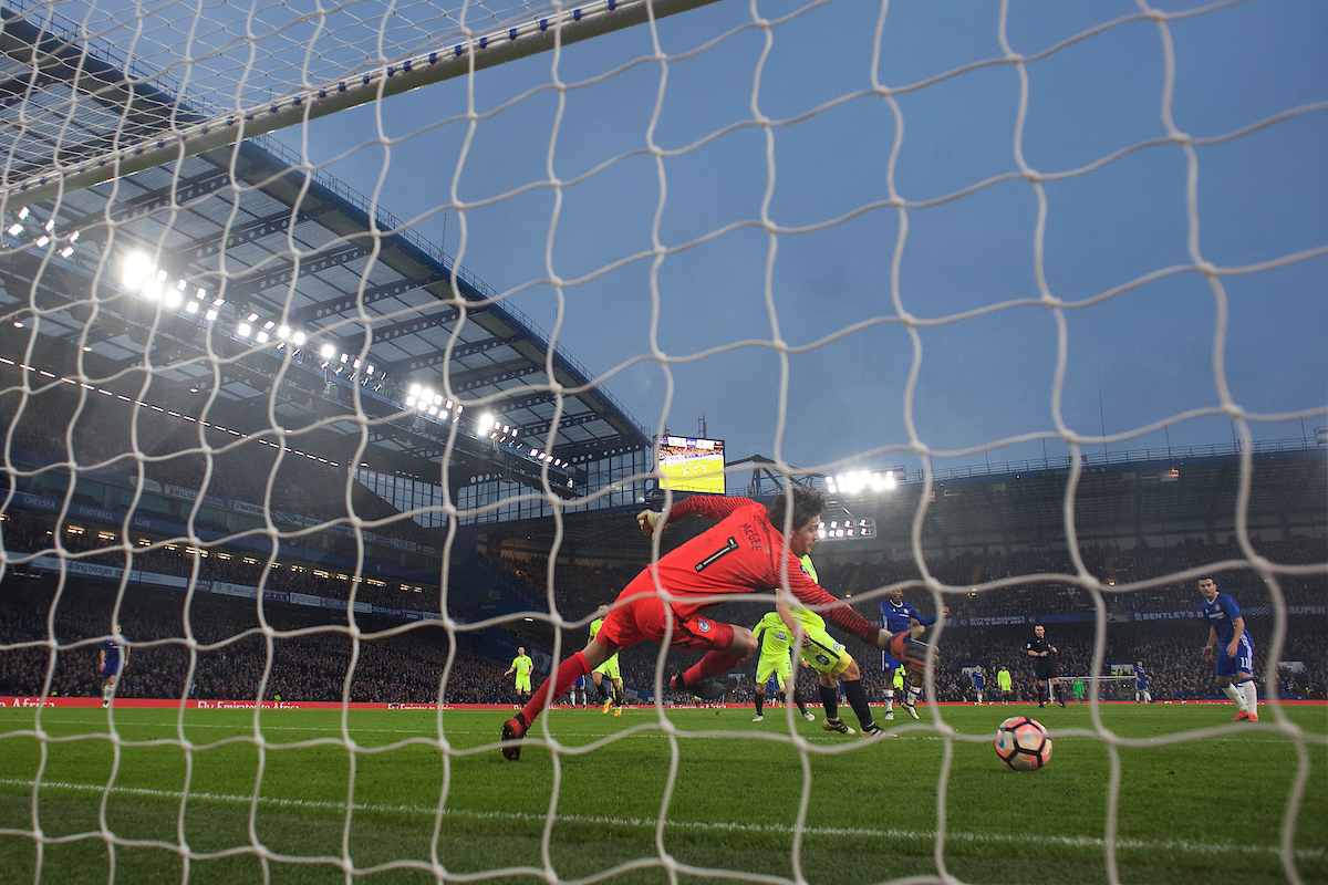 Pedro of Chelsea puts the ball past Goalkeeper Luke McGee of Peterborough United to score the opening goal during the third round of the FA Cup at Stamford Bridge, London Picture by Alan Stanford/Focus Images Ltd +44 7915 056117 08/01/2017