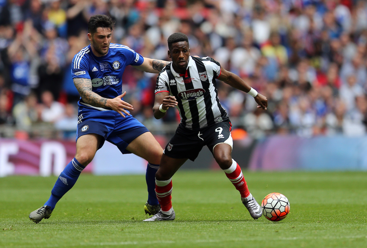 Matty Brown (l) of FC Halifax and Omar Bogle of Grimsby Town during the FA Trophy Final at Wembley Stadium, London Picture by Simon Moore/Focus Images Ltd 07807 671782 22/05/2016