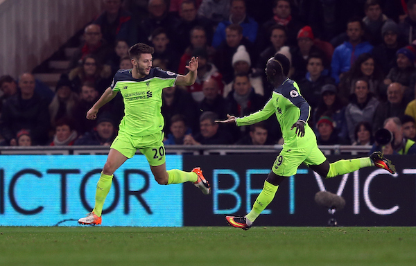 Adam Lallana of Liverpool celebrates after putting his team 1-0 up during the Premier League match at the Riverside Stadium, Middlesbrough Picture by Christopher Booth/Focus Images Ltd 07711958291 14/12/2016