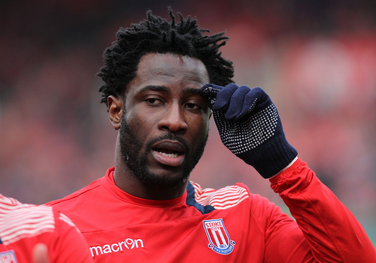 Wilfried Bony of Stoke City prior to the Premier League match against Burnley at the Bet 365 Stadium, Stoke-on-Trent. Picture by Michael Sedgwick/Focus Images Ltd +44 7900 363072 03/12/2016