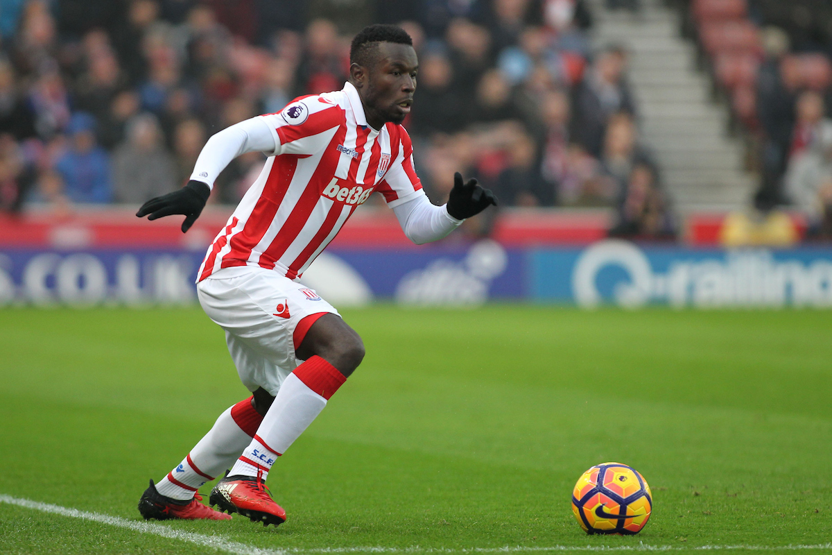 Mame Biram Diouf of Stoke City in action against Leicester City during the Premier League match at the Bet 365 Stadium, Stoke-on-Trent. Picture by Michael Sedgwick/Focus Images Ltd +44 7900 363072 17/12/2016
