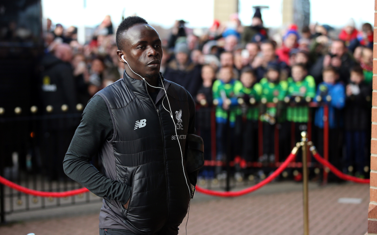 The Liverpool team arrive including Sadio Mane prior to the Premier League match between Sunderland and Liverpool at the Stadium Of Light SunderlandPicture by Christopher BoothFocus Images Ltd 0771195829102012017