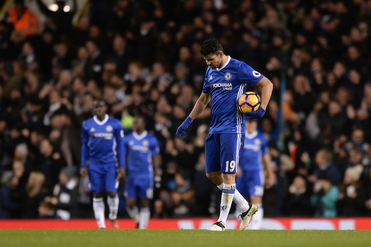 Diego Costa of Chelsea looks dejected as Dele Alli of Tottenham Hotspur scores his sides second goal to make the scoreline 2-0 during the Premier League match between Tottenham Hotspur and Chelsea at White Hart Lane, London Picture by Richard Blaxall/Focus Images Ltd +44 7853 364624 04/01/2017