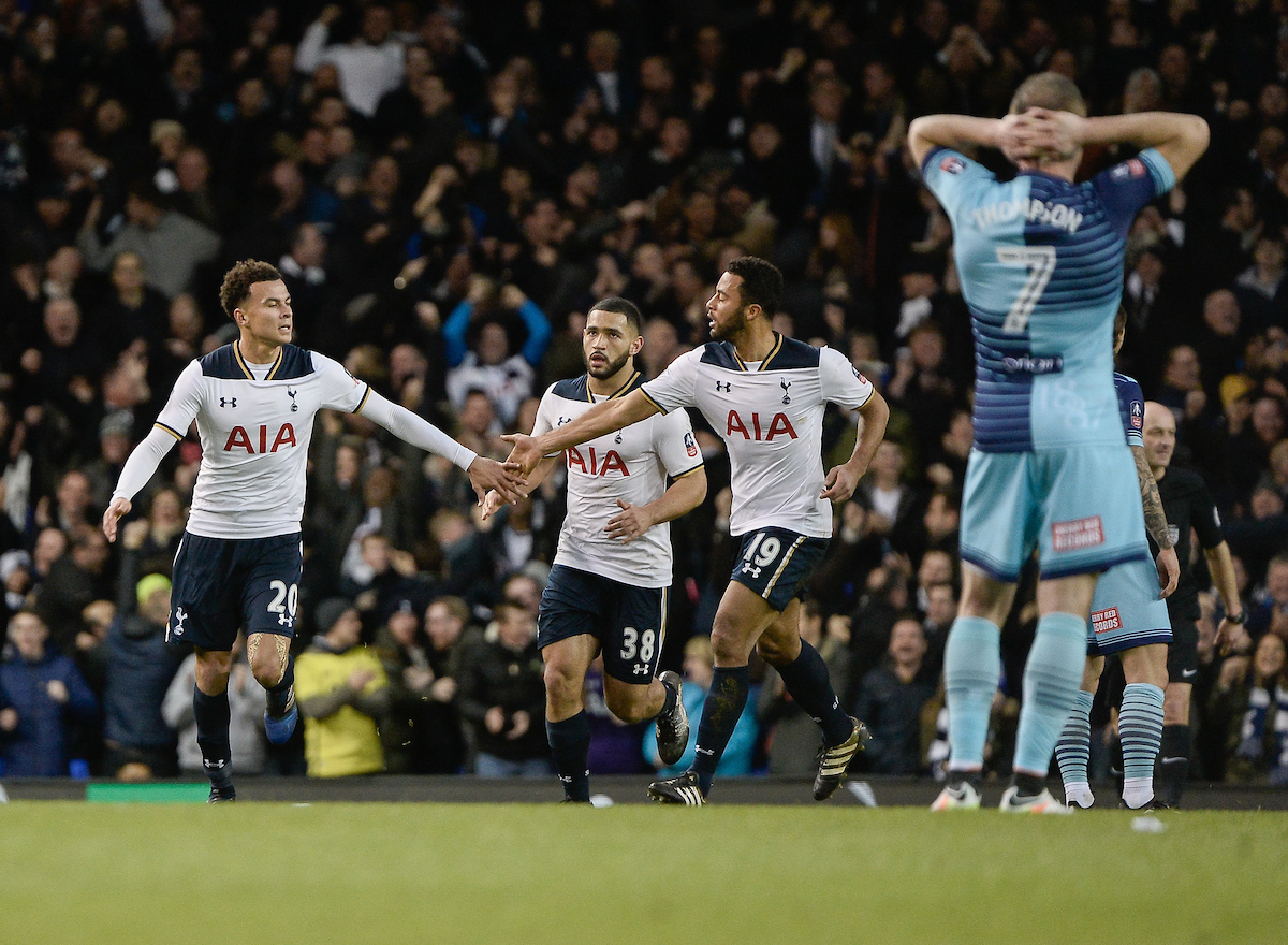 Dele Alli of Tottenham Hotspur celebrates his goal against Wycombe Wanderers during the FA Cup match at White Hart Lane, London Picture by Matthew Usher/Focus Images Ltd +44 7902 242054 28/01/2017