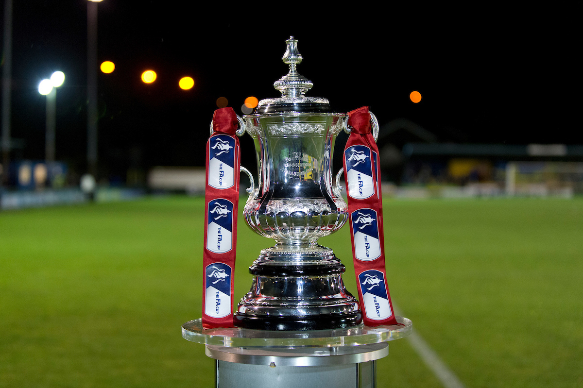 The FA Cup trophy during the The FA Cup match at Cantilever Park, Warrington Picture by Russell Hart/Focus Images Ltd 07791 688 420 07/11/2014