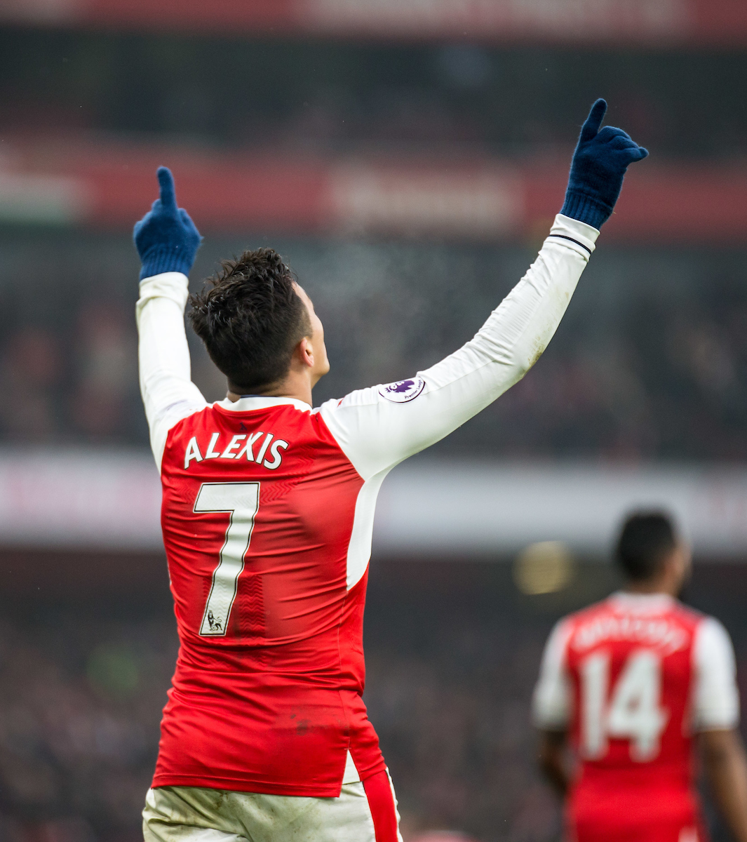 Alexis Sanchez of Arsenal celebrates his 1st goal during the Premier League match at the Emirates Stadium, London Picture by Liam McAvoy/Focus Images Ltd 07413 543156 11/02/2017