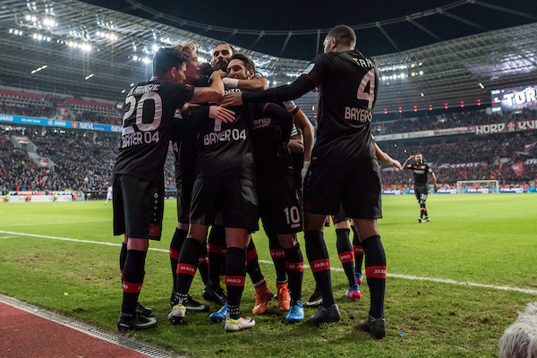Bayer Leverkusen celebrate their second goal against Borussia Monchengladbach during the Bundesliga match at BayArena, Leverkusen Picture by EXPA Pictures/Focus Images Ltd 07814482222 28/01/2017 *** UK & IRELAND ONLY *** EXPA-EIB-170128-1316.jpg