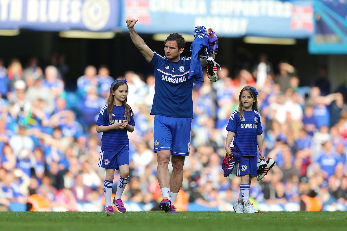 Frank Lampard of Chelsea with his children during the lap of honour after the Barclays Premier League match at Stamford Bridge, London Picture by Richard Calver/Focus Images Ltd +447792 981244 04/05/2014