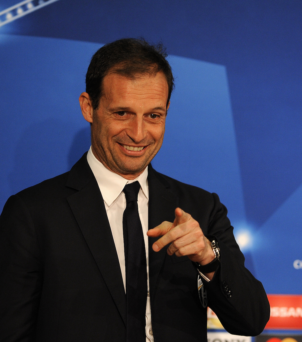 Juventus coach Massimiliano Allegri during a press conference at Allianz Arena, Munich Picture by Stefano Gnech/Focus Images Ltd +39 333 1641678 15/03/2016
