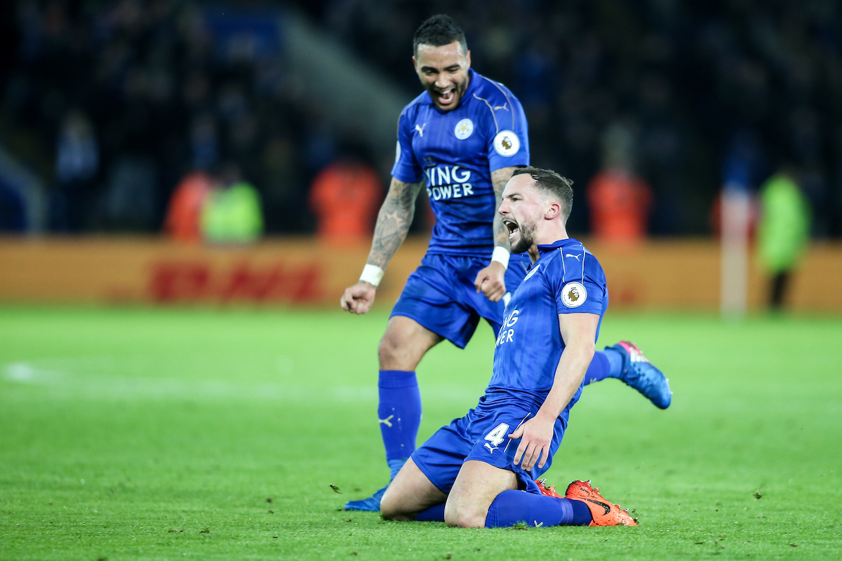 Daniel Drinkwater of Leicester City (right) celebrates scoring during the Premier League match at the King Power Stadium, Leicester Picture by Andy Kearns/Focus Images Ltd 0781 864 4264 27/02/2017