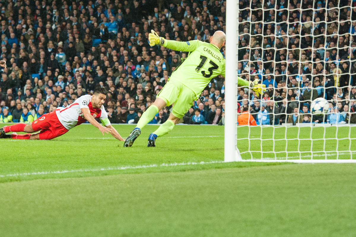 Radamel Falcao of Monaco scores his sides first goal with a diving header during the UEFA Champions League match at the Etihad Stadium, Manchester Picture by Matt Wilkinson/Focus Images Ltd 07814 960751 21/02/2017