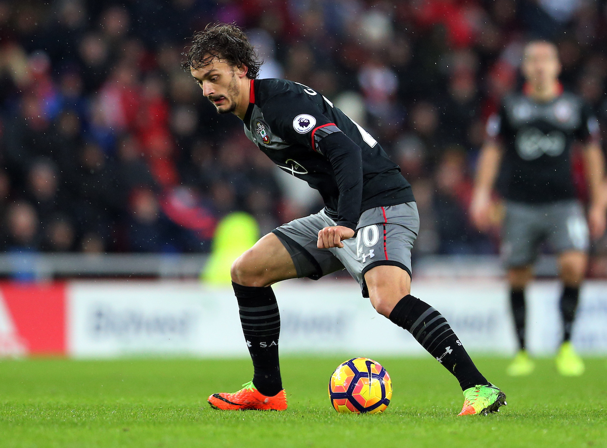 Manolo Gabbiadini of Southampton during the Premier League match at the Stadium Of Light, Sunderland Picture by Simon Moore/Focus Images Ltd 07807 671782 11/02/2017