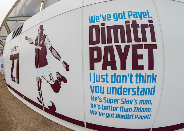Dimitri Payet signage outside the London Stadium during the Premier League match at the London Stadium, Stratford Picture by Liam McAvoy/Focus Images Ltd 07413 543156 14/01/2017
