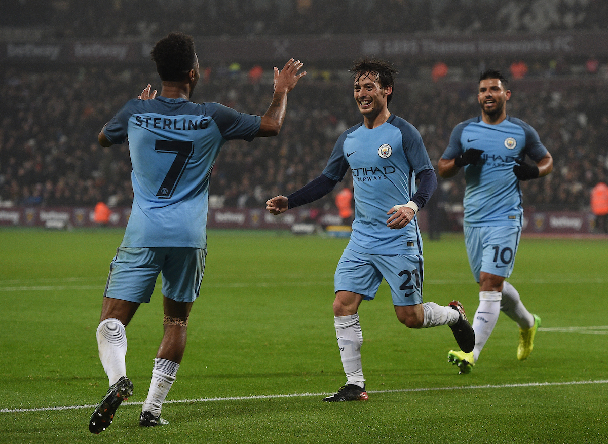 Manchester City's David Silva celebrates scoring their third goal with second goal scorer Raheem Sterling during the third round of the FA Cup at the London Stadium, Stratford Picture by Daniel Hambury/Focus Images Ltd 07813022858 06/01/2017