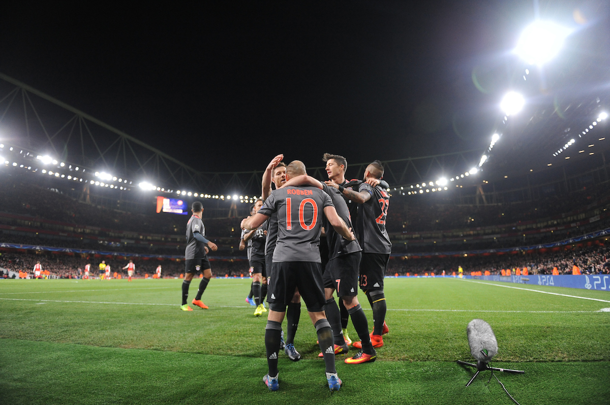 Arjen Robben of Bayern Munich celebrates scoring their second goal with team mates during the UEFA Champions League match at the Emirates Stadium, London Picture by Daniel Hambury/Focus Images Ltd 07813022858 07/03/2017