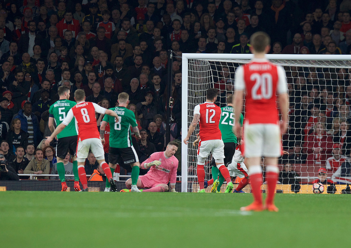 Luke Waterfall of Lincoln City (5) scores an own goal to make it 3-0 during the quarter-final of the FA Cup at the Emirates Stadium, London Picture by Alan Stanford/Focus Images Ltd +44 7915 056117 11/03/2017