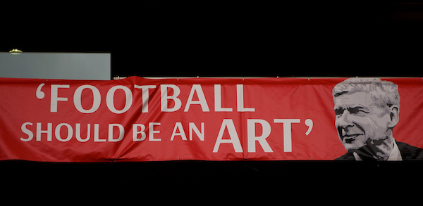 Manager Arsene Wenger of Arsenal on a banner before the Barclays Premier League match at the Emirates Stadium, London Picture by Alan Stanford/Focus Images Ltd +44 7915 056117 21/04/2016