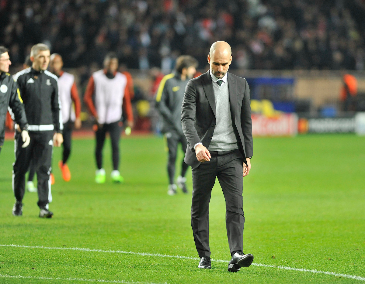 Pep Guardiola, manager of Manchester City during the UEFA Champions League match at Stade Louis II, Monaco Picture by Stefano Gnech/Focus Images Ltd +39 333 1641678 15/03/2017