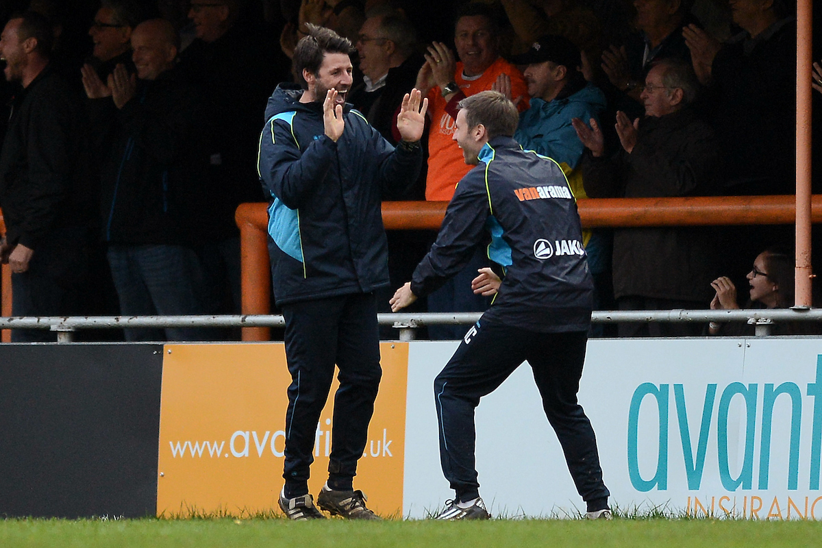Braintree Town Manager Danny Cowley (left) celebrates the equaliser of Kenny Davis of Braintree Town to make the scoreline 1-1 with this Brother Nicky Cowley during the FA Cup match between Braintree Town and Oxford United at the Avanti Stadium, Braintree Picture by Richard Blaxall/Focus Images Ltd +44 7853 364624 08/11/2015
