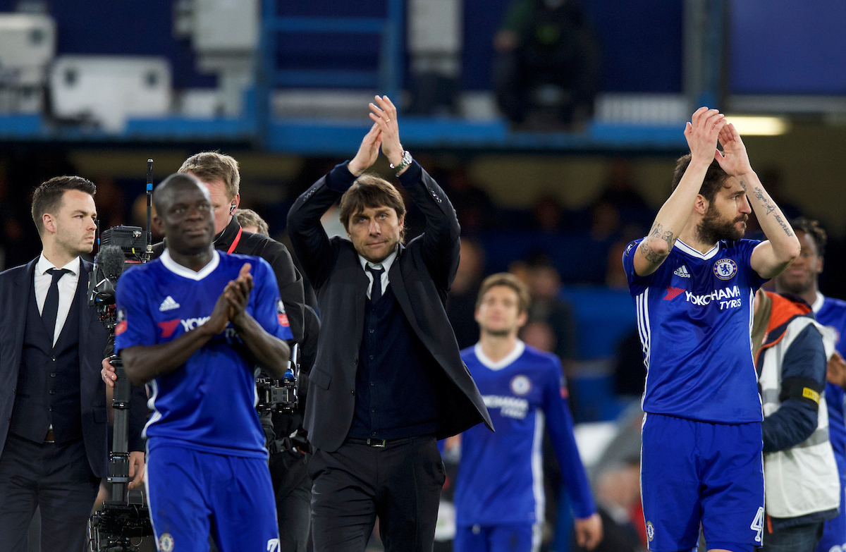 Manager Antonio Conte of Chelsea celebrates their 1-0 win over Manchester United in the quarter-final of the FA Cup at Stamford Bridge, London Picture by Alan Stanford/Focus Images Ltd +44 7915 056117 13/03/2017