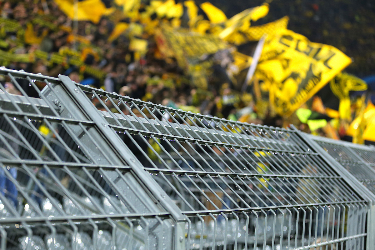 Fans of Borussia Dortmund behind the steel fencing during the UEFA Champions League match against Real Madrid at Westfalenstadion, Dortmund Picture by Richard Calver/Focus Images Ltd +447792 981244 08/04/2014