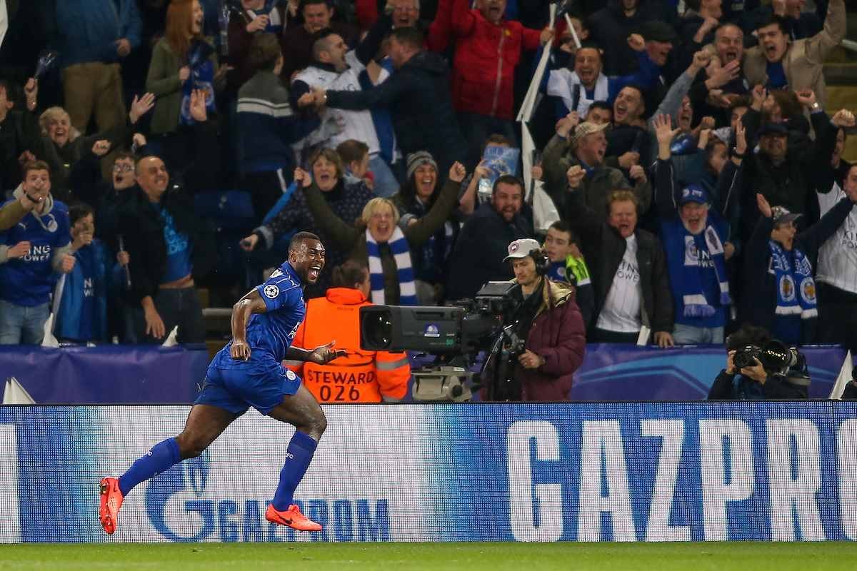 Wes Morgan of Leicester City celebrates after scoring during the UEFA Champions League match at the King Power Stadium, Leicester Picture by Andy Kearns/Focus Images Ltd 0781 864 4264 14/03/2017