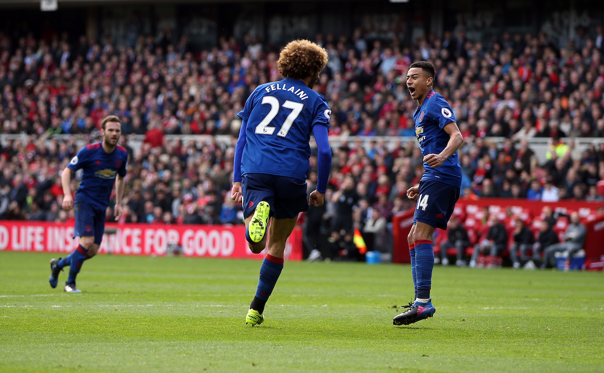Marouane Fellaini of Manchester United puts his team 1-0 up during the Premier League match at the Riverside Stadium, Middlesbrough Picture by Christopher Booth/Focus Images Ltd 07711958291 19/03/2017