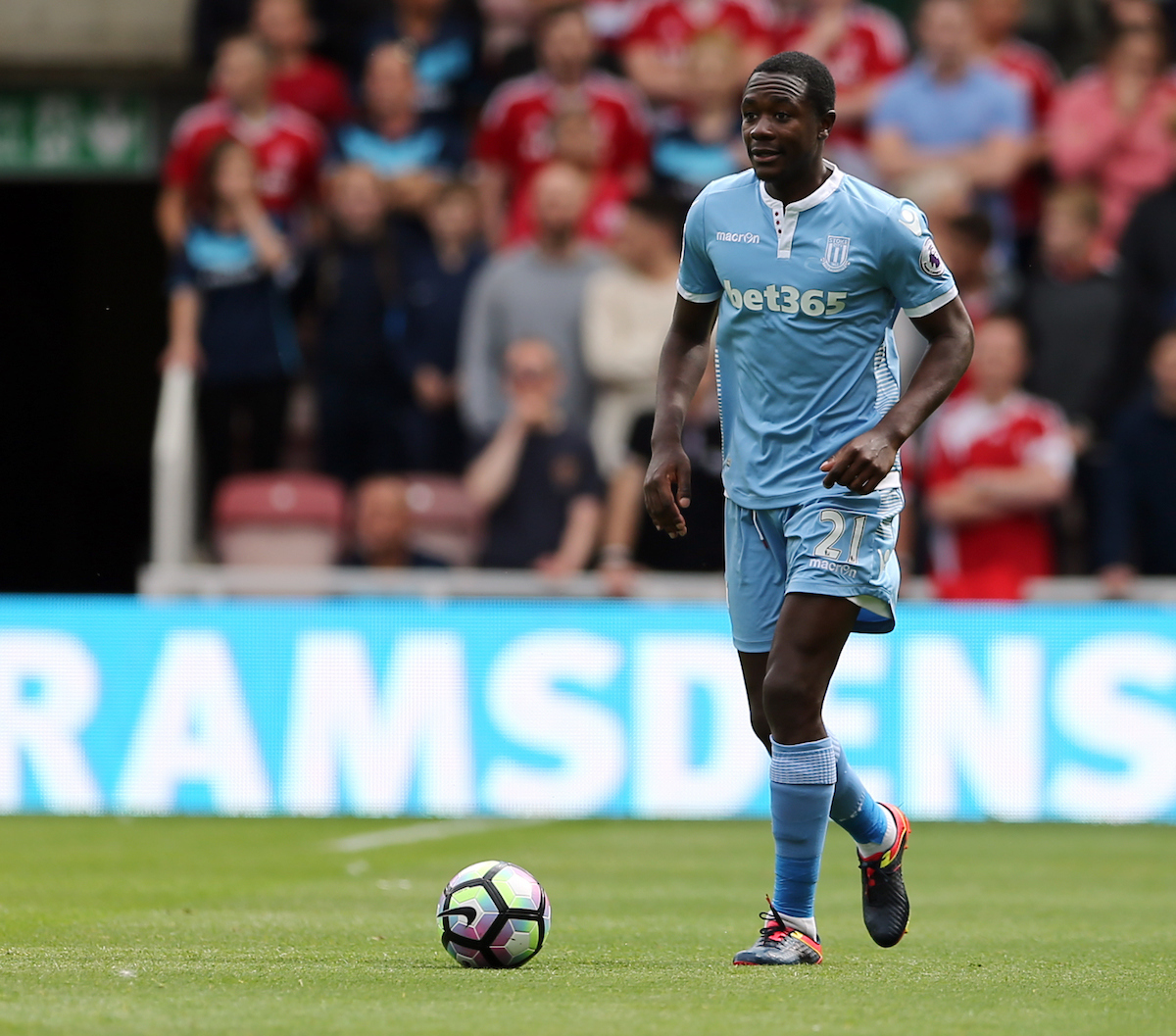 Gianelli Imbula of Stoke City during the Premier League match at the Riverside Stadium, Middlesbrough Picture by Simon Moore/Focus Images Ltd 07807 671782 13/08/2016
