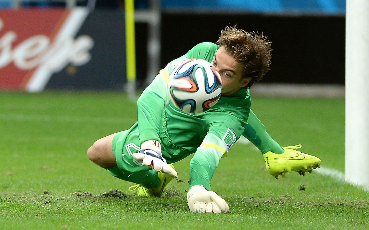 Tim Krul of Netherlands saves a penalty to win the 2014 FIFA World Cup match against Costa Rica at the Itaipava Arena Fonte Nova, Nazare, Bahia Picture by Stefano Gnech/Focus Images Ltd +39 333 1641678 05/07/2014