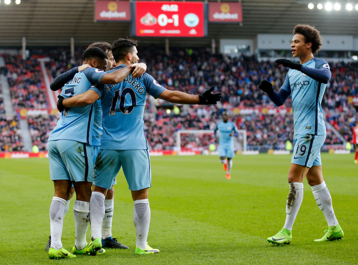 Sergio Aguero (10) of Manchester City is congratulated on scoring the opening goal during the Premier League match at the Stadium Of Light, Sunderland Picture by Simon Moore/Focus Images Ltd 07807 671782 05/03/2017