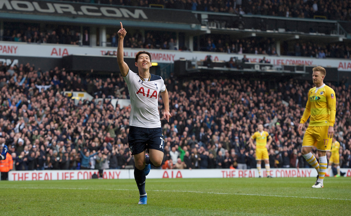 Son Heung-Min of Tottenham Hotspur celebrates after scoring his side's 3rd goal and his 2nd during the quarter final of the FA Cup match at White Hart Lane, London Picture by Alan Stanford/Focus Images Ltd +44 7915 056117 12/03/2017
