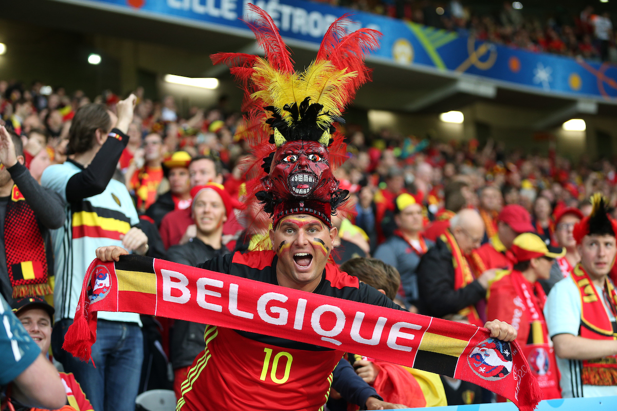 Fans of Belgium during the UEFA Euro 2016 quarter final match at Stade Pierre-Mauroy, Lille Picture by Paul Chesterton/Focus Images Ltd +44 7904 640267 01/07/2016