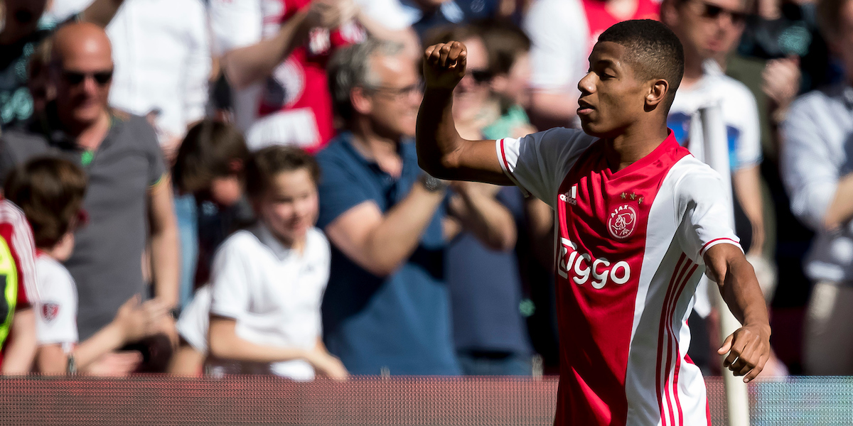 David Neres of Ajax has scored 2-0 during the Dutch Eredivisie match at Amsterdam Arena, Amsterdam Picture by Joep Joseph Leenen/Focus Images Ltd +316 5261929 02/04/2017 ***NETHERLANDS OUT***
