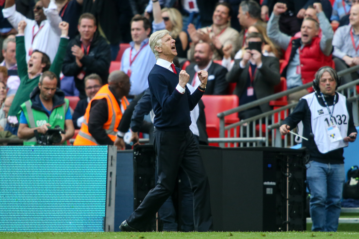 Arsène Wenger celebra el pase a la final. Foto: Andy Kearns/Focus Images Ltd.