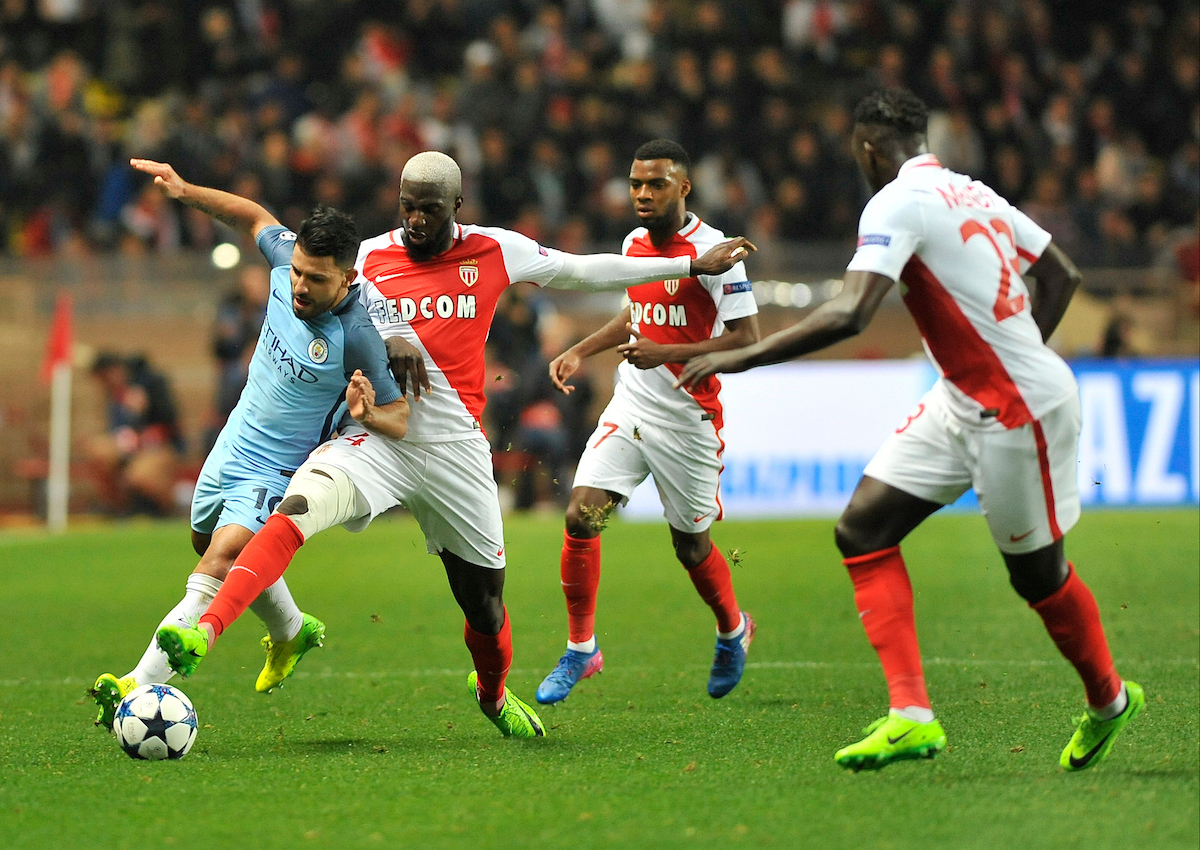 Tiemoue Bakayoko of AS Monaco FC and Sergio Aguero of Manchester City battle during the UEFA Champions League match at Stade Louis II, Monaco Picture by Stefano Gnech/Focus Images Ltd +39 333 1641678 15/03/2017