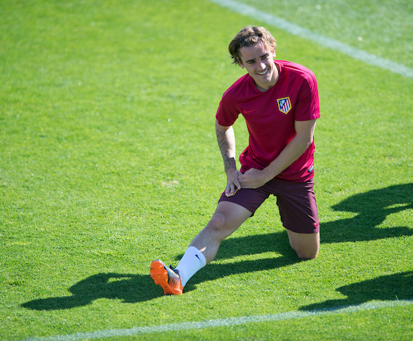 Antoine Griezmann smiles during the Atletico Madrid Training Session at Ciudad Deportiva de Majadahonda, Madrid Picture by Russell Hart/Focus Images Ltd 07791 688 420 11/04/2017