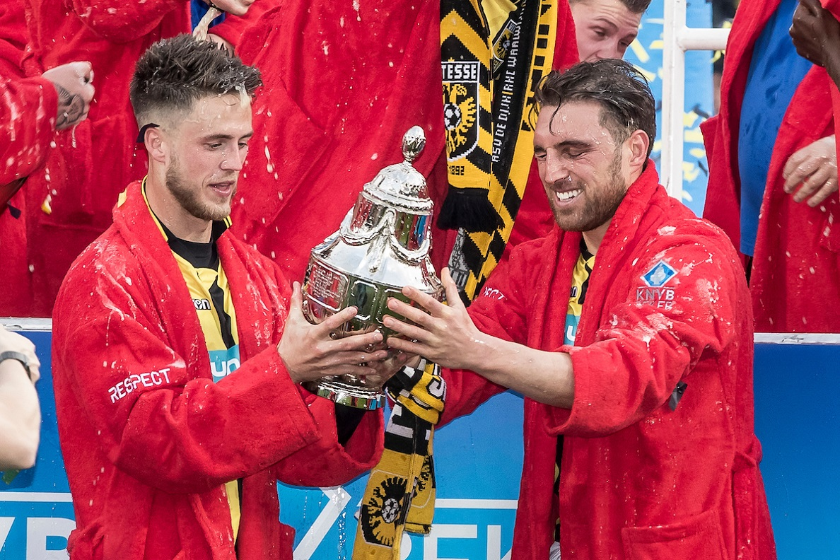 Guram Kashia of Vitesse (R), Ricky van Wolfswinkel of Vitesse (L)Vitesse wins the Dutch Cup, the first prize in the history of the club after the KNVB Cup match at De Kuip, Rotterdam Picture by Joep Joseph Leenen/Focus Images Ltd +316 5261929 30/04/2017 ***NETHERLANDS OUT***