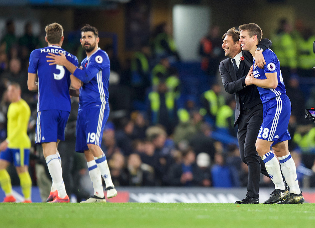 Marcos Alonso of Chelsea (left) ,Diego Costa, Manager Antonio Conte and Cesar Azpilicueta celebrate their win in the Premier League match at Stamford Bridge, London Picture by Alan Stanford/Focus Images Ltd +44 7915 056117 05/11/2016