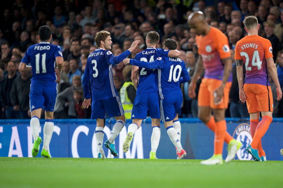 Eden Hazard of Chelsea (10) celebrates with Gary Cahill after scoring his side's 2nd goal to make it 2-1 during the Premier League match at Stamford Bridge, London Picture by Alan Stanford/Focus Images Ltd +44 7915 056117 05/04/2017