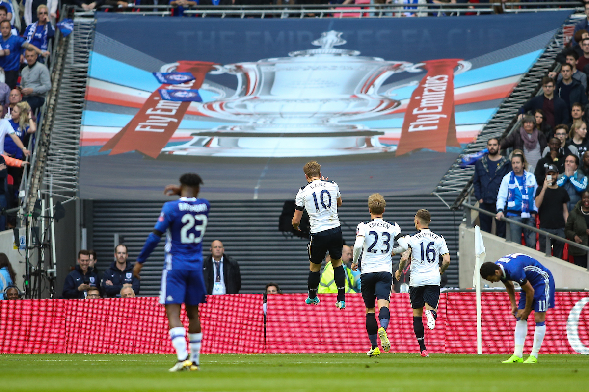 Harry Kane of Tottenham Hotspur (centre) leaps for joy after scoring a goal during the FA Cup semi-final match at Wembley Stadium, London Picture by Andy Kearns/Focus Images Ltd 0781 864 4264 22/04/2017