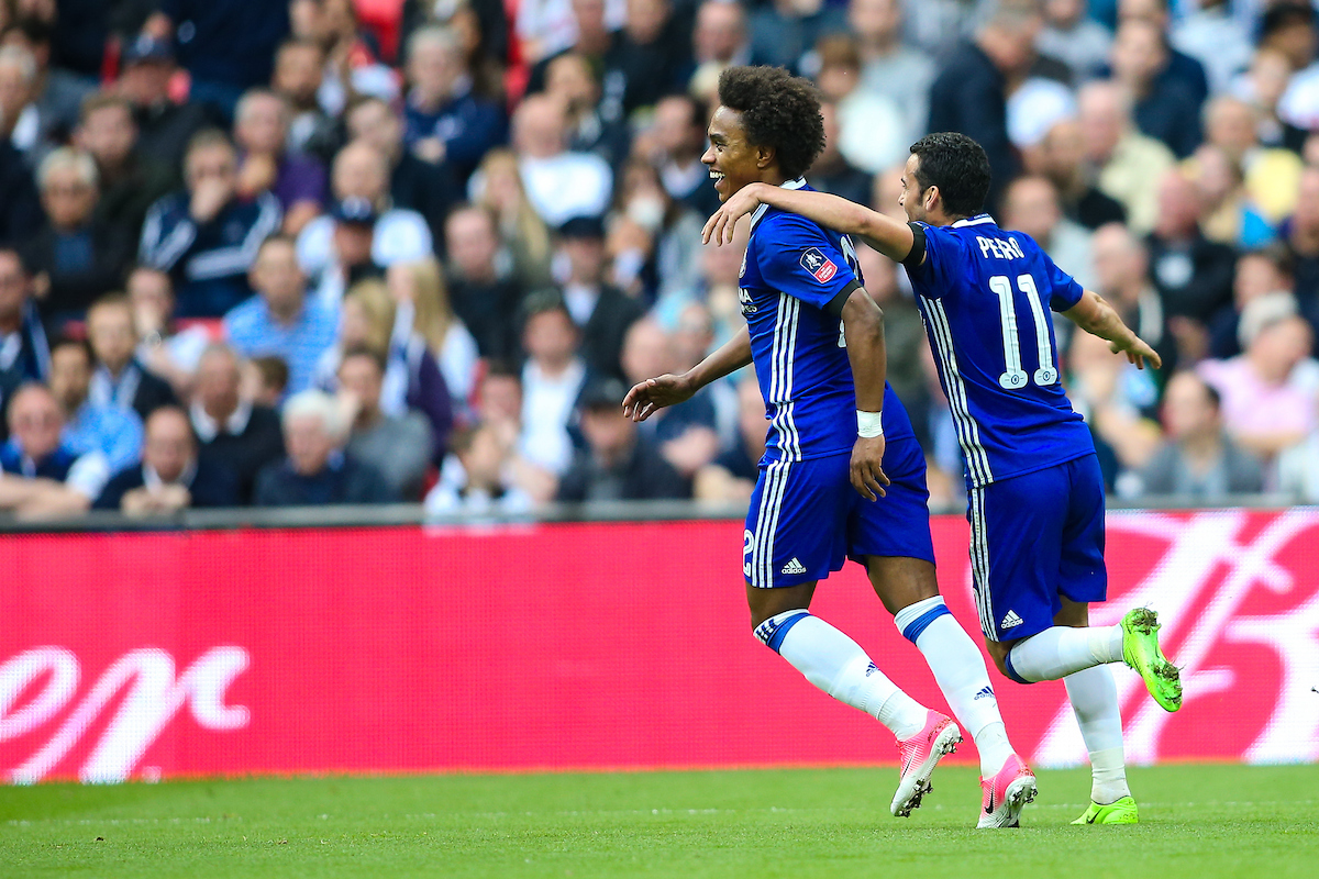 Willian of Chelsea (left) celebrates with team mate Pedro of Chelsea (right) during the FA Cup semi-final match at Wembley Stadium, London Picture by Andy Kearns/Focus Images Ltd 0781 864 4264 22/04/2017