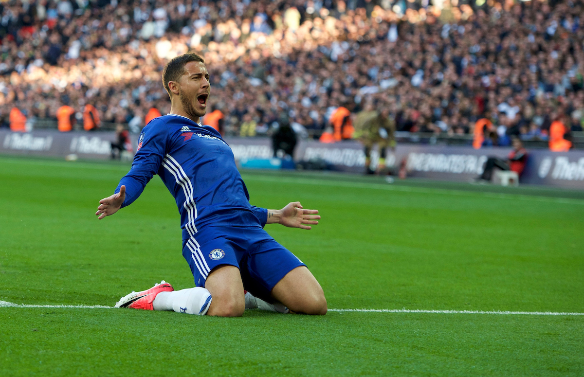 Eden Hazard of Chelsea celebrates after scoring his side's 3rd goal to make it 3-2 during the FA Cup semi-final match at Wembley Stadium, London Picture by Alan Stanford/Focus Images Ltd +44 7915 056117 22/04/2017