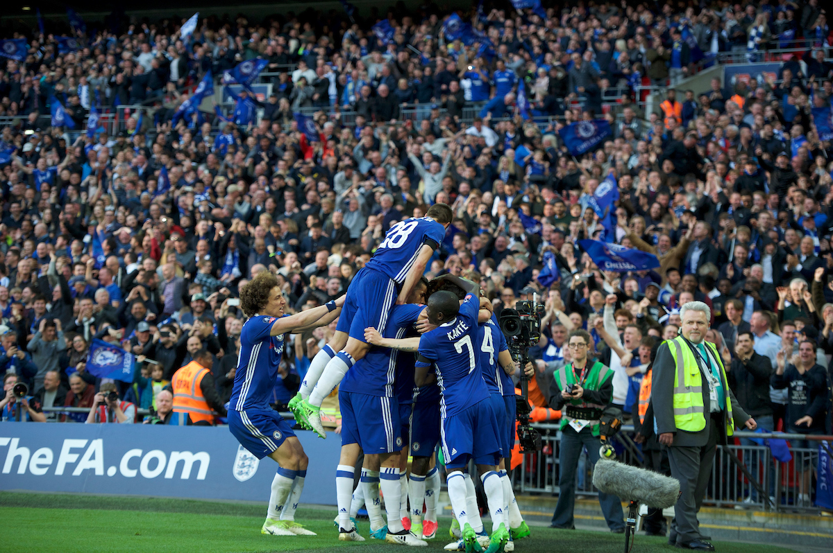 Chelsea players celebrate their 4th goal during the FA Cup semi-final match at Wembley Stadium, London Picture by Alan Stanford/Focus Images Ltd +44 7915 056117 22/04/2017