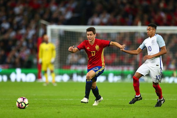 Ander Herrera of Spain breaks free from club team mate Jesse Lingard of England during the International Friendly match at Wembley Stadium, London Picture by Ryan Dinham/Focus Images Ltd +44 7900 436859 15/11/2016