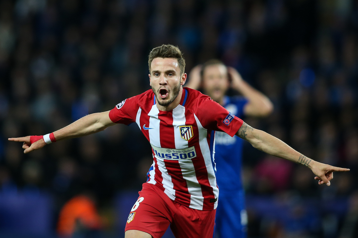 Saul Niguez of Atletico Madrid celebrates scoring during the UEFA Champions League match at the King Power Stadium, Leicester Picture by Andy Kearns/Focus Images Ltd 0781 864 4264 18/04/2017