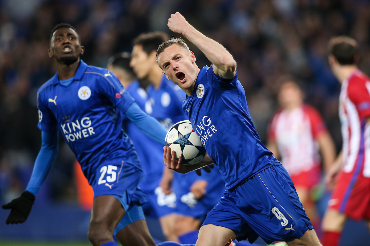 Jamie Vardy of Leicester City celebrates after scoring during the UEFA Champions League match at the King Power Stadium, Leicester Picture by Andy Kearns/Focus Images Ltd 0781 864 4264 18/04/2017