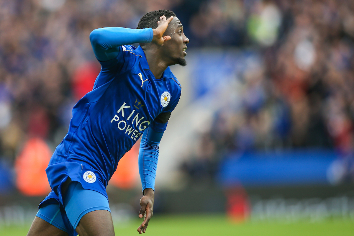 Wilfred Ndidi of Leicester City (centre) celebrates after scoring during the Premier League match at the King Power Stadium, Leicester Picture by Andy Kearns/Focus Images Ltd 0781 864 4264 01/04/2017